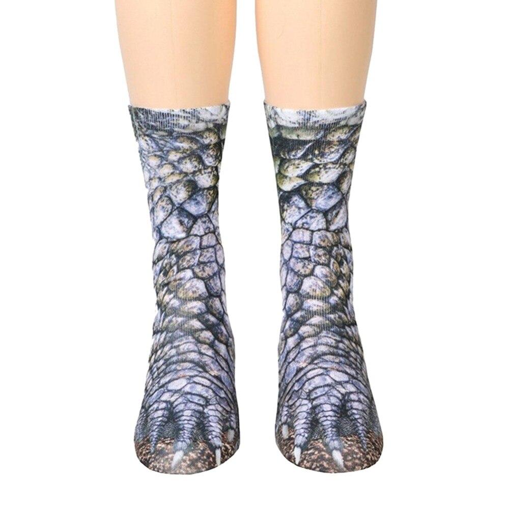 3D Animal Paw Feet Crew Socks Foot 23-27cm Animals Dog Dinosaur Tiger Eagle Cat Tiger Zebra Pig Horse Hoof Paw Van Gogh Art Sock