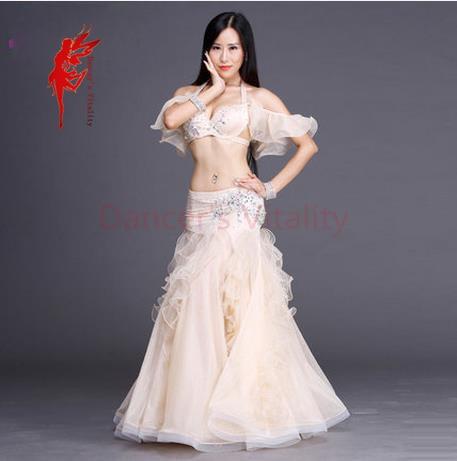 Rhinestones luksuzni performansi trebušni ples top in krilo 2pcs balon plesalec starejši set 3D mrežice Material trebušni ples obleke