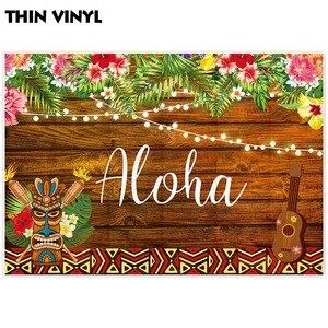 Image 3 - Allenjoy fondo de fotografía Aloha tiki luau fiesta cumpleaños niño madera flor tropical telón de fondo cabina de estudio fotográfico