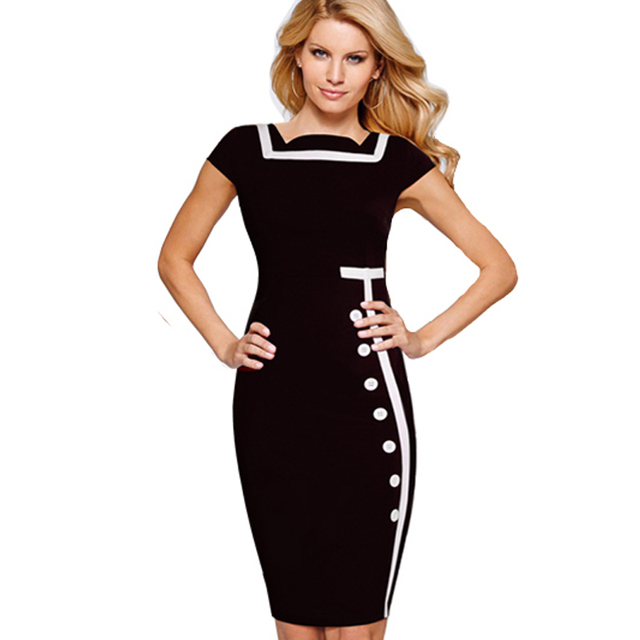 US $11.39 5% OFF|Women Casual Office Business Patchwork Summer Dresses Plus  Size Short Sleeve Buttons Pencil Dress 2G742-in Dresses from Women\'s ...