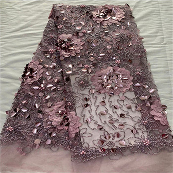 High Quality Nigerian Lace Fabrics For Wedding 2019 Bridal African French Lace Fabric beads sequins 3D Flowers Fabric 3D Flower