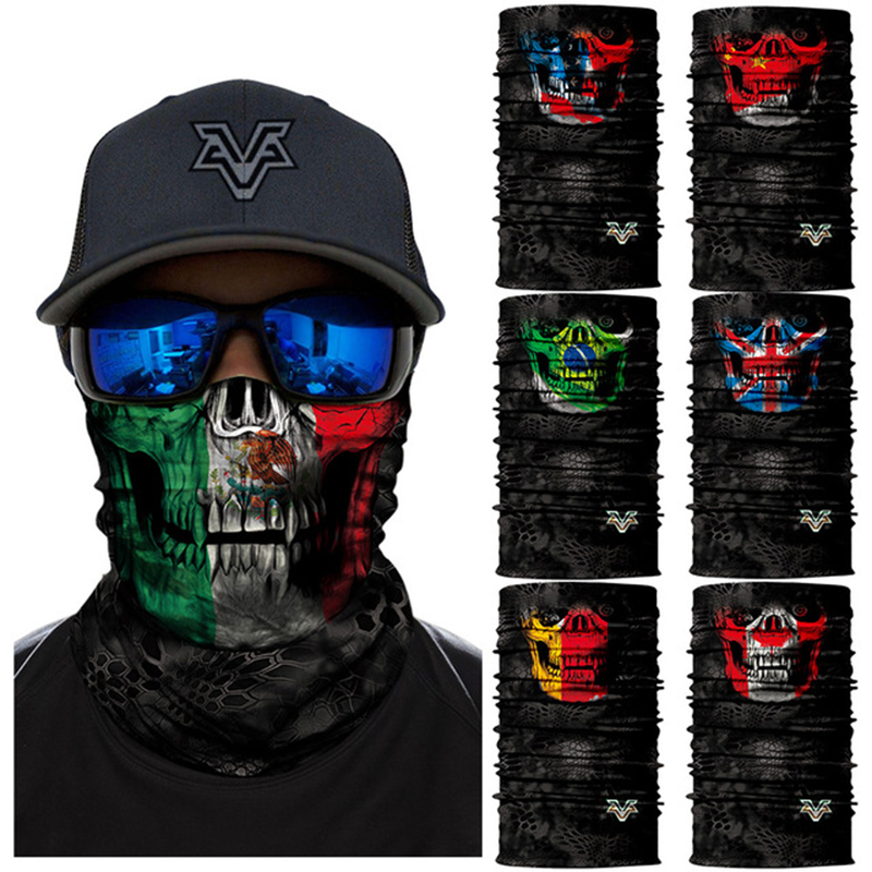 Motorbike Magic Balaclava Neck Face Mask Mexico Flag Ghost Skull Shield Skiing