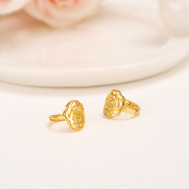 2 Pairs Small Clip Earrings Flower For S Womens Gold Color Fashion Plant Jewelry Arab