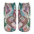 1 pairs Indiano 3D Gato Mágico Impresso meias Curtas Mulheres homens Low Cut Tornozelo Algodão Caráter Ocasional Dos Desenhos Animados Meia Verão estilo