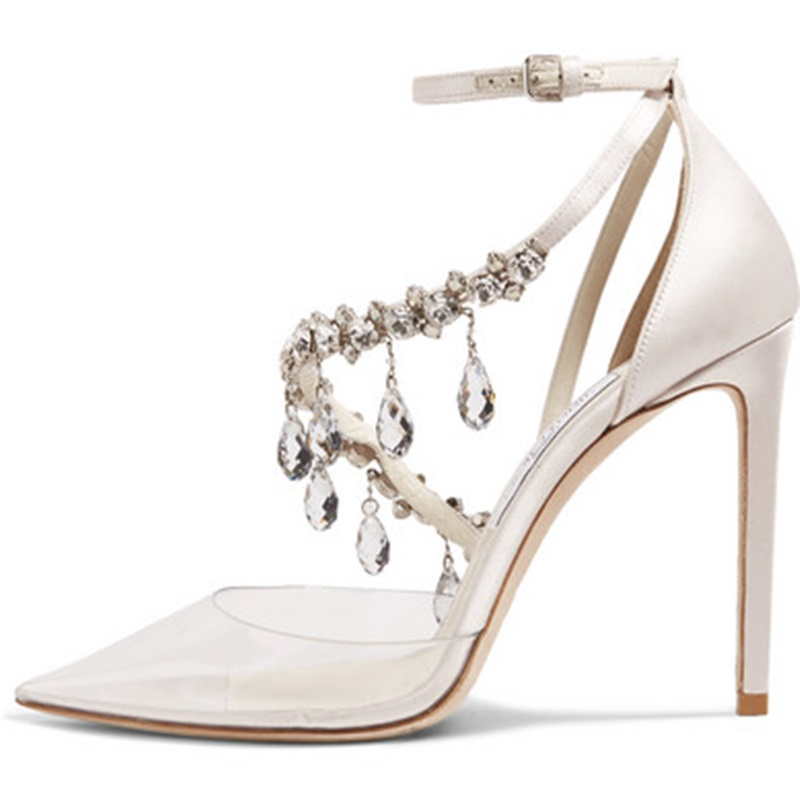 Transparent Sandals Ladies Pumps High Heels Crystal Shoes Women Sexy Pointed Toe Buckle Strap Party Wedding Stiletto Shoes B034 crystal high heels shoes platform transparent pvc cross strap women gladiator sandals square toe nightclub party wedding shoes