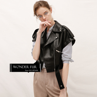 Women S Modern Style Leather Waistcoat Top Quality Sheepskin Vest Drop Shoulder Short Sleeve Leather Coat
