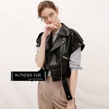 Women's Modern Style Leather Waistcoat Top Quality Sheepskin Vest Drop Shoulder Short Sleeve Leather Coat Genuine Leather Gilet