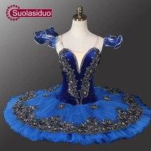 Velvet Blue Bird Ballet Tutu Black Swan Professional For Competition Stage Performance SD0013