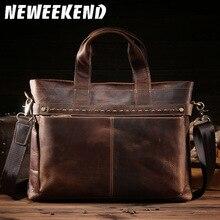 High Quality Big Genuine Leather Men Messenger Bags Briefcase Portfolio Male 15'' Laptop Business Travel Bag 8029 цена в Москве и Питере