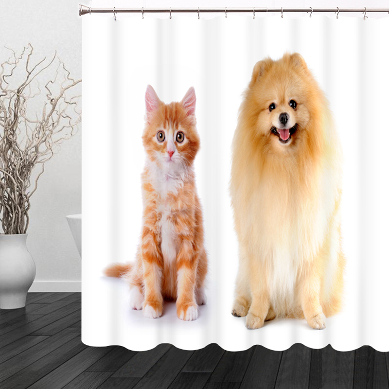 3D Cartoon Pet Cat and Dog Pattern Shower Curtains Bathroom Curtain Waterproof Thickened Bath Curtain Customizable