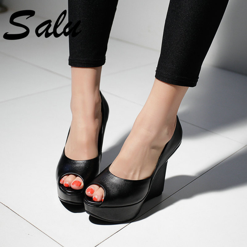 salu Pumps Sheepskin High Heels Shoes Woman Genuine Leather Peep Toe Sliver Wedges Heel Wedding Shoes