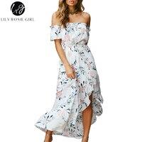 Lily Rosie Girl Off Shoulder White Print Women Boho Dresses 2018 Summer Ruffles Short Sleeve Backless