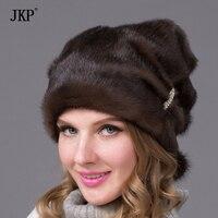 כובעי חורף נשים פרווה אופנה זוהר מקלות ותכשיטי יהלומים DHY-67 כובע הפרווה מינק האמיתי