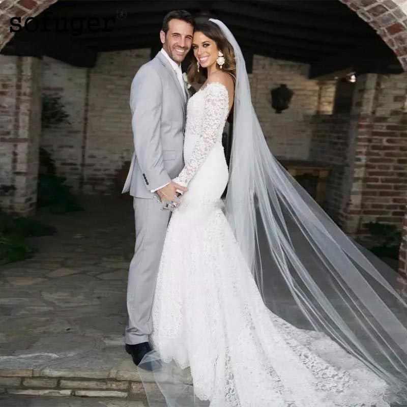 2019 Vintage Lace V Neck Wedding Dresses Backless Long Sleeve Mermaid  Bridal Gowns Country Style Bohemian Vestido De Novia