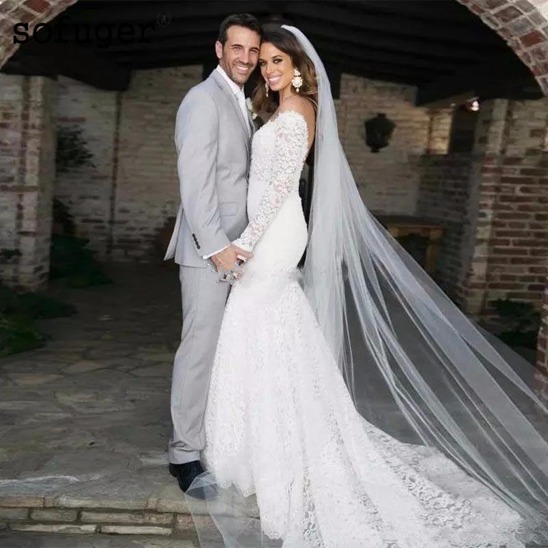Mermaid Style Lace Wedding Gowns: 2019 Vintage Lace V Neck Wedding Dresses Backless Long