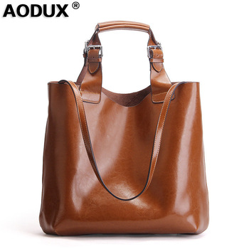AODUX 2018 New Famous Brand Women Tote Shopping Bags Female Genuine Leather Woman Second Layer Cow Leather Shoulder Shopping Bag