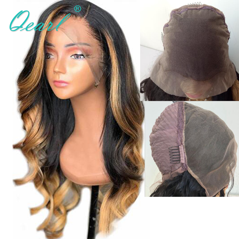 Half Lace 13x6 Lace Front Wig Human Hair Wigs Deep Side Parting Ombre Colored Pre Plucked
