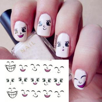 1 Sheet NEW Hot Fashion Cute Nail Art Water Decals Transfer Sticker Smiling Face Pattern DIY Nail Cartoon Stickers Beauty Stickers & Decals