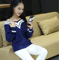 New Winter Women Shirts Loose Knitting Striped Navy Wind Students Turtleneck Sweater Wet Blouse Shirt White
