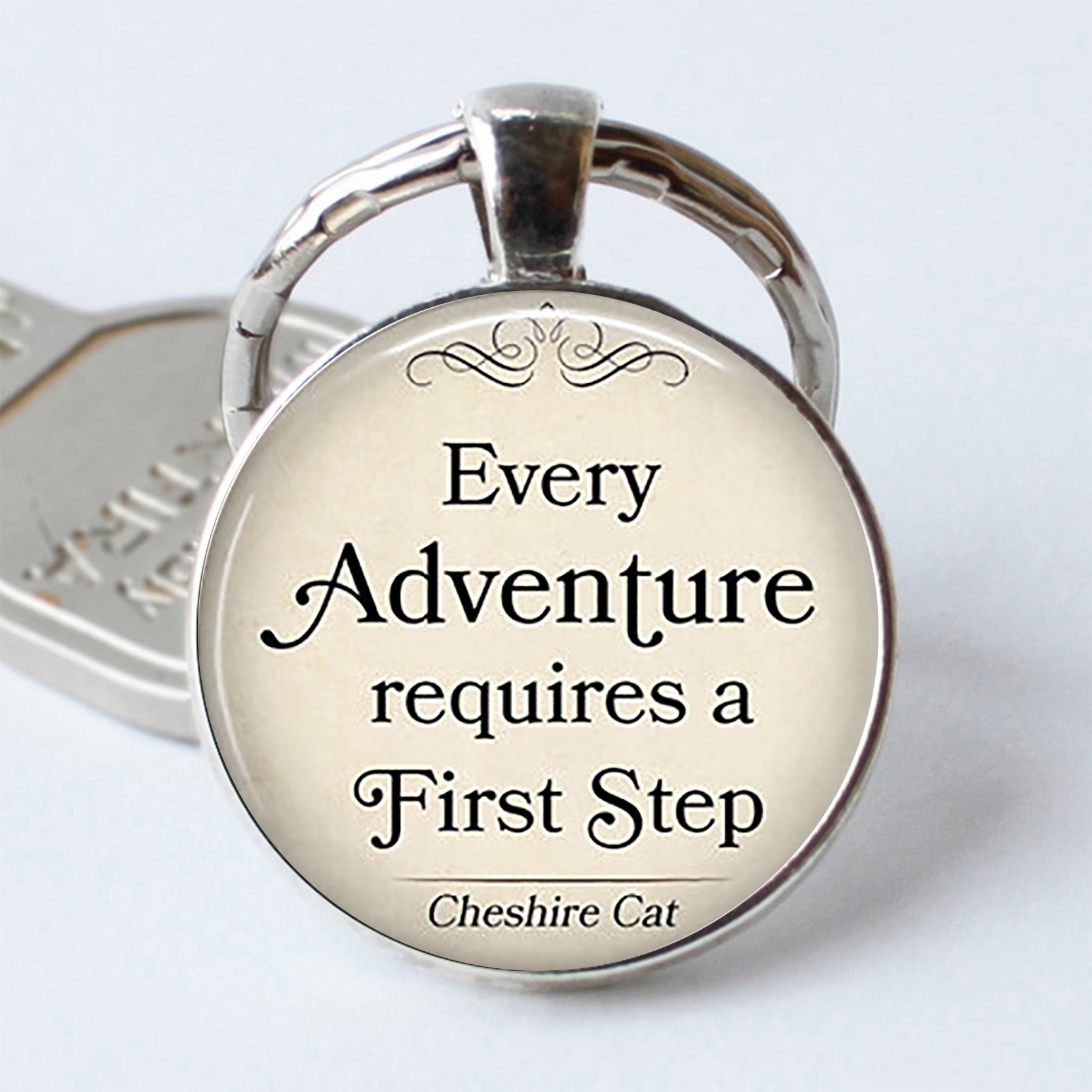 Every Adventure Requires A First Step Cheshire Cat Quote Pendant Alice In Wonderland Inspirational Quote Keychain Key Rings my first eng adventure starter tb