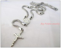 New Arrive 316L Stainless Steel Silver Cross Jesus Rosary Women S Men S Necklace Sweater Chain