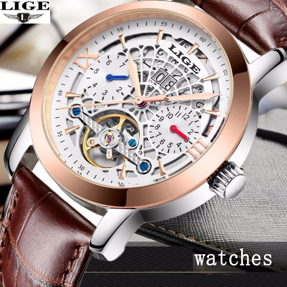 2017 Top Brand Luxury Men Automatic Watch Business Hollow Mechanical Watches Relogio Male Montre Watch Mens LIGE new business watches men top quality automatic men watch factory shop free shipping wrg8053m4t2