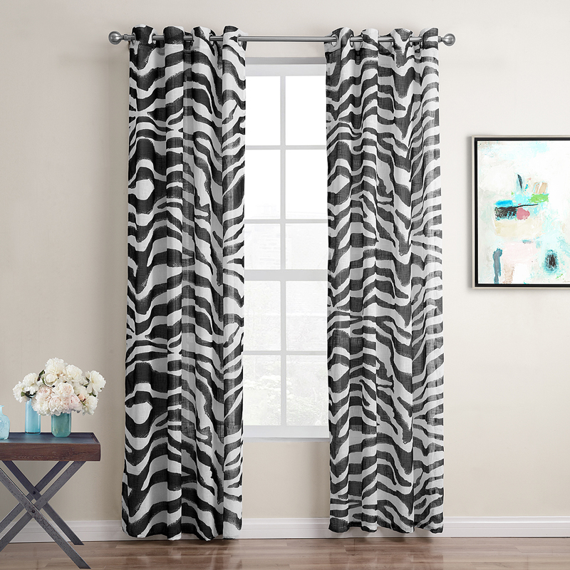 Black And White Window Curtains Printed Striped Curtains