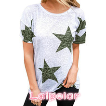2018 New Fashion T Shirt Women Tops Short Sleeve O-Neck Causal Tees Star Printed Summer Camisetas Mujer 3 Color Laipelar