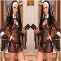 БЕСПЛАТНАЯ ДОСТАВКА Мэри Монахини Костюмы для Женщин Сексуальный Кожаный PU Черные Монахини Костюм Арабский Религии Монах Униформа Хеллоуин Костюм