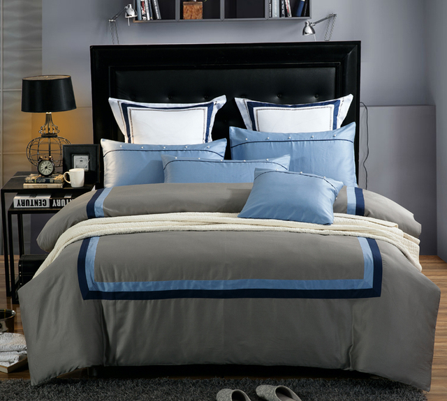 Brun Bleu Couleur 60 S Coton Hotel Ensembles De Literie Roi Reine
