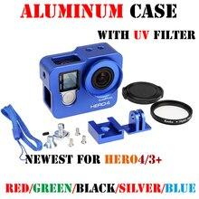 Ir pro herói 4/3 + Acessórios Liga de metal Caixa de Proteção capa Shell Habitação tampa da lente para gopro hero 43 + câmera acessórios