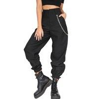 Moda Kadın Harem Pantolon Streetwear Yüksek Bel Hip Hop Rahat Dans Sweatpants 2018 Yaz Pamuk Bayanlar Pantolon Ile Zincirleri