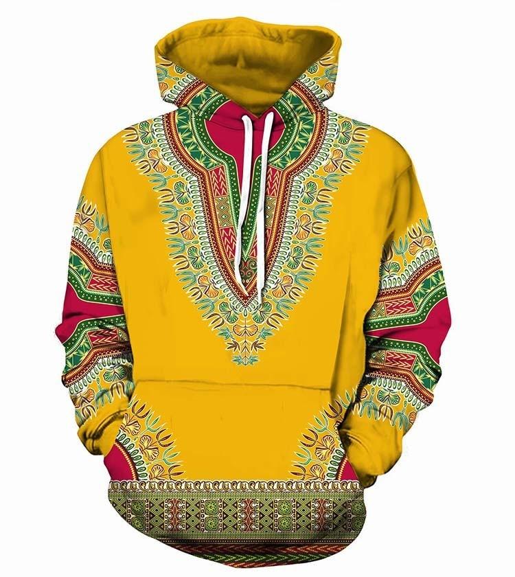 Domple Mens Long Sleeve Hooded Dashiki Pullover African Fribal Print Tribal Sweatshirt