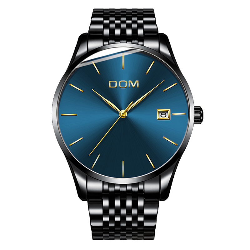 Watch Men DOM Men's Watch Brand Luxury Quartz Watch Casual Stainless Steel Mesh Strap Ultra Thin Clock Relog Wrist Watch M-11BK longbo ultra thin stainless steel quartz wrist watch for men silver