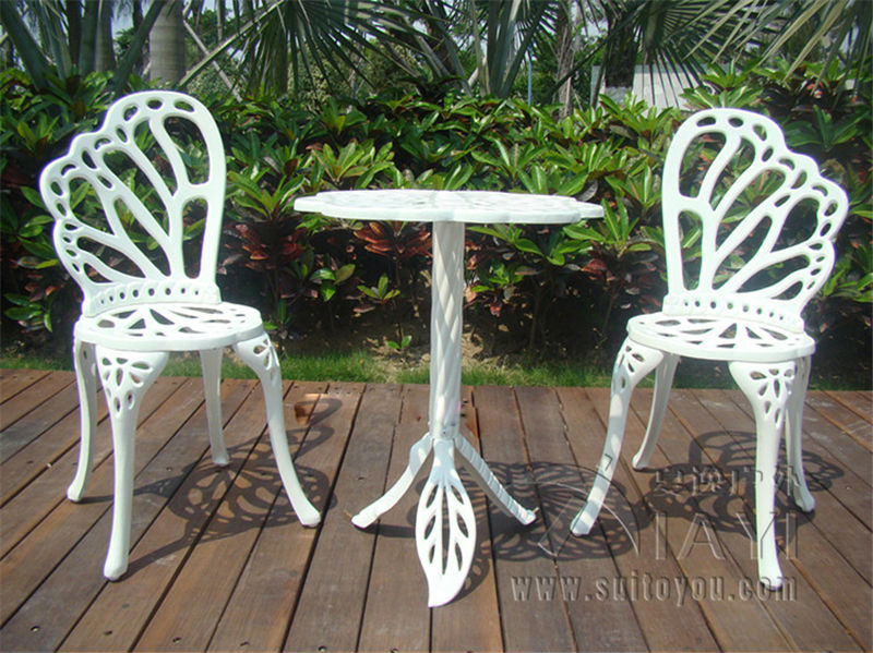 fine garden furniture white metal wrought iron table chairs patio - Garden Furniture 3 Piece