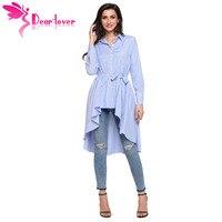 יקר מאהב פסים משרד Blusas החולצה נשים אופנה החדשה גבירותיי סתיו שרוול ארוך נמוך גבוהה דש חגור טוניקת למעלה C250364