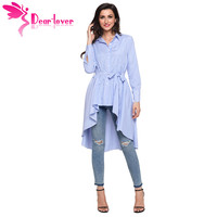 Dear Lover Stripe Blouse Shirt Women New Fashion Blusas Office Ladies Autumn Long Sleeve Lapel High