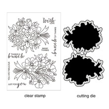 AZSG Bouquet/Bunch Of Flower Cutting Dies Clear Stamps For DIY Scrapbooking/Card Making/Album Decorative Silicone Stamp Crafts