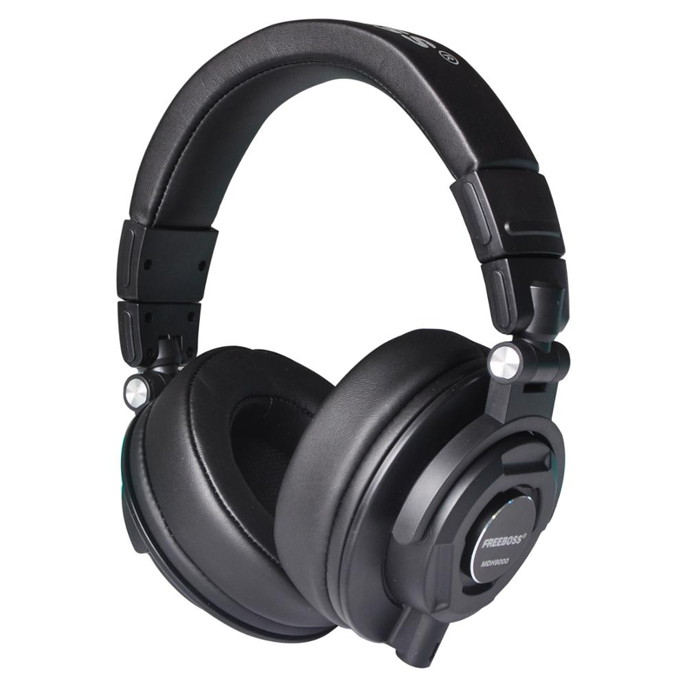 Freeboss MDH9000 Monitor Headphones with 50mm Drivers Single-side Detachable cable 3.5mm Plug 6.35mm adapter Headset Headphones