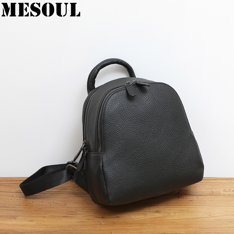 New Small Black Backpack Women 100 Genuine Cow Leather Fashion Simple Travel Backpacks Female Lady Shoulder