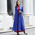 New Casual British Style Burderry Coat Women Double Breasted Slim Cut Turn Collar Long Maxi Trench Solid Blue