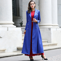 New Casual British Style Burderry Coat Women Double Breasted Slim Cut Turn Collar Long Maxi Trench