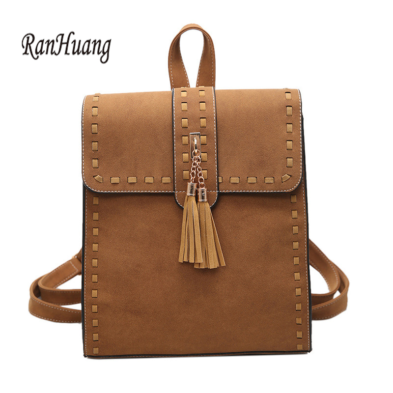 RanHuang 2017 Fashion Women Tassel Backpack High Quality PU Leather Backpack School Bags For Teenage Girls
