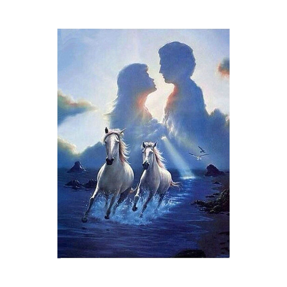 5D DIY Diamond Embroidery Two horses at sunset Diamond Painting Cross Stitch Square&round Rhinestone Mosaic Decoration XV3065