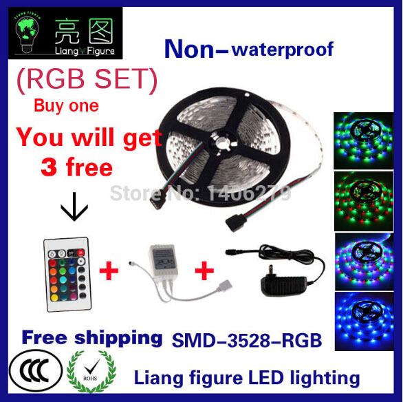 RGB LED Strip 5M 300Led 3528 SMD Waterproof + 24Key IR Remote Controller+12V 2A Power Adapter Flexible Led strip lamp 150108 v108 ir remote receive module 2 key remote controller black silver