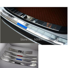 цена на For Mitsubishi Outlander 2016 2017 2018 2019 car stainless steel back outside rear bumper external trim plate inner trunk pedal
