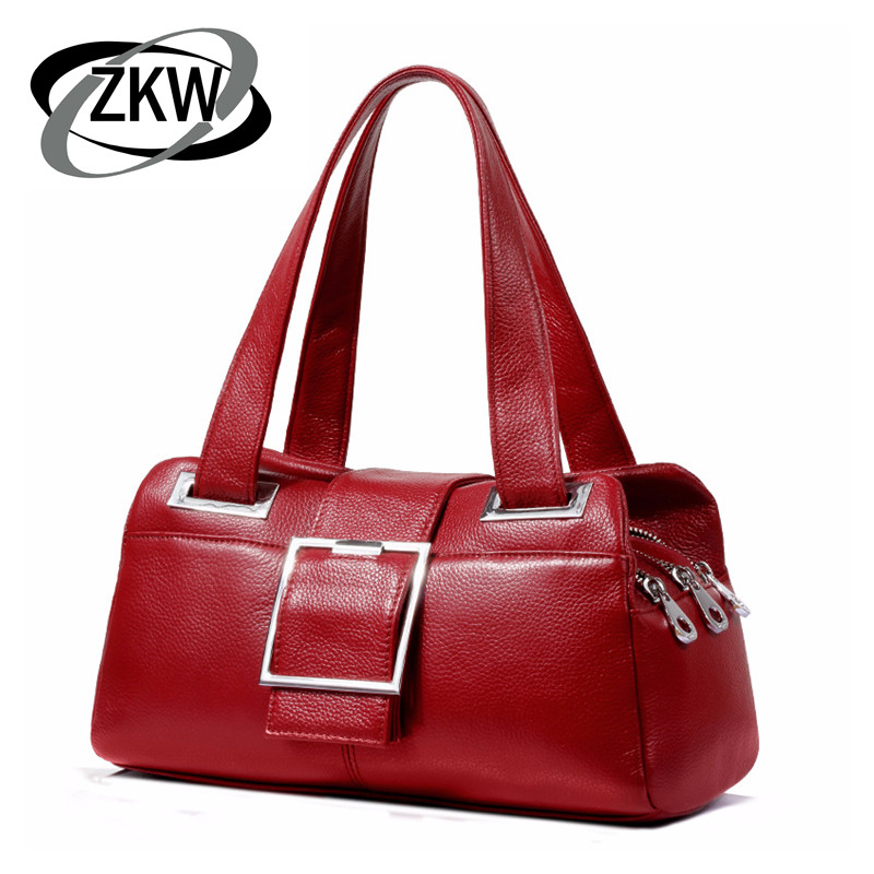 ZKW New Arrival Women's Handbag 2019 Simple Fashion Boston  Genuine Leather Soft Skin Messenger Bag One Shoulder Cowhide Bags