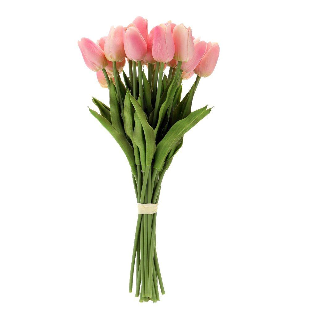 Hot 20pcs Artificial Tulip Flowers Single Long Stem Bouquet Real