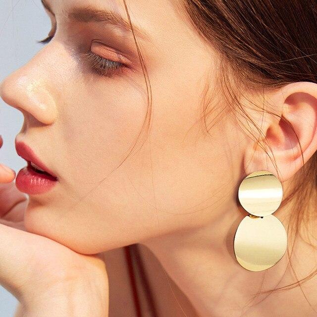 Fashion Statement Earrings 2019 Big Geometric Round Earrings For Women Hanging Dangle Earrings Drop Earing Modern Female Jewelry 3