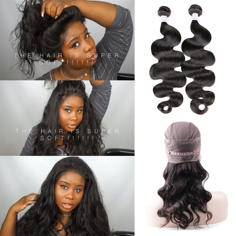 New Upgraded Pre Plucked 360 Full Lace Frontal With Cap Add 2pcs Hot Beauty Hair Body Wave 360 lace frontal with bundles
